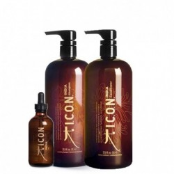 Lot ICON India Shampooing 1000ml + Conditionneur 1000ml + India Oil