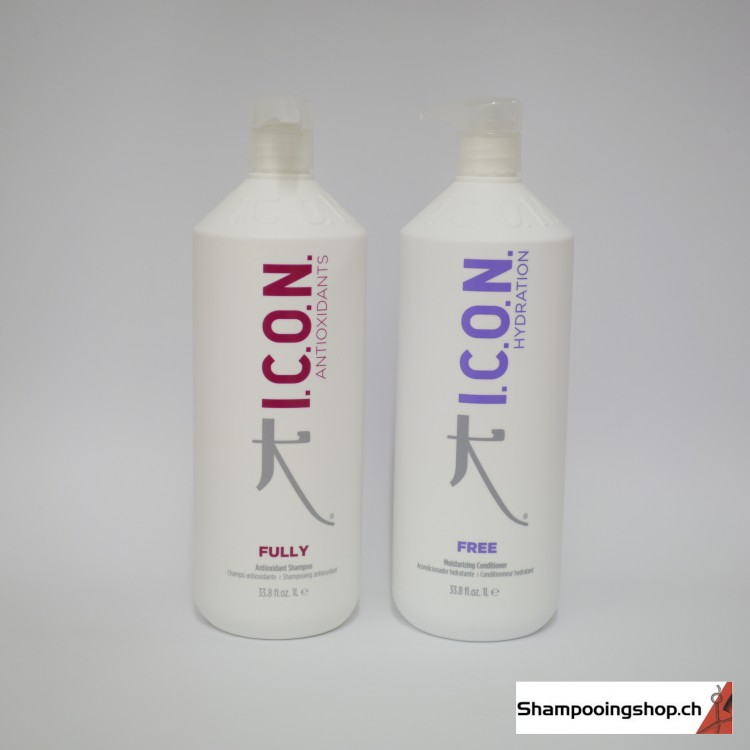 ICON Lot Shampooing antioxydant Fully 1000ml + Conditionneur Hydratant Free 1000ml