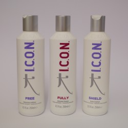 Lot promotionnel Icon shampooing Fully, conditionneur Free, tratement Shield